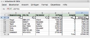 Tabellen aus Datenbanken anlegen